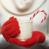 stock photo of hot-weather  - Woman holds a winter cup close up - JPG