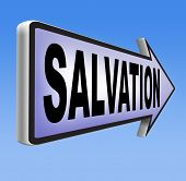 salvation road sign arrow follow jesus and god to be rescued save your soul sign with text and word