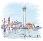 Venice. Piazza San Marco. The view of the island of San Giorgio Maggiore. Vector drawing. Eps10