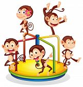 Illustration of monkeys playing with a roundabout