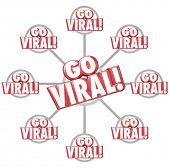 Go Viral red 3d words on a grid of connected messages or communication to illustrate spreading or sharing information via marketing or advertising