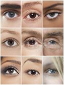 Collage of human eyes