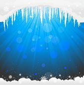 Winter background  with icicles. Copy space