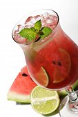 Watermelon Caipirinha. Isolated on White Background