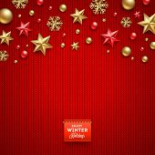 Christmas vector design - holidays decorations and label on a knitted red background