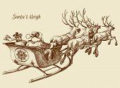 foto of sleigh ride  - Santa Claus reindeer sleigh sketch - JPG
