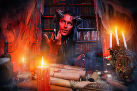 image of hade  - Horned Devil in his home - JPG