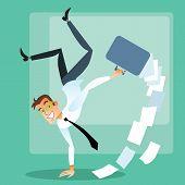 Joyful businessman doing handstand