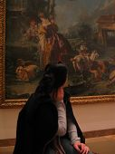 Woman Looking At Malerei