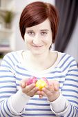 Portrait Of Young Girl With Easter Eggs