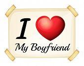Illustration of I love my boyfriend banner