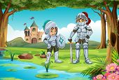 Illustration of two knights standing in a forest