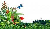 Illustration of butterflies flying in the garden