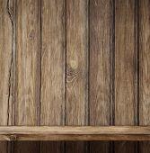 Empty wood shelf vintage background
