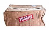 damaged cardboard parcel on white background