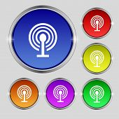 Wifi Sign. Wi-fi Symbol. Wireless Network Icon Zone. Set Colour Buttons. Vector