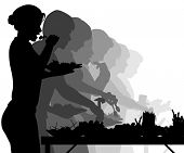 Illustrated silhouettes of people enjoying a buffet table