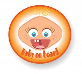 Isolated sign with text Baby on board, screaming child