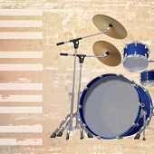 pic of drum-kit  - abstract beige grunge background with drum kit - JPG