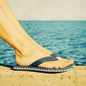 Female Feet In Blue Flip-flops, Retro Image
