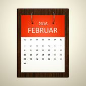 An image of a german calendar for event planning 2016 february