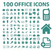 100 office, business, document concept - flat isolated icons, signs, illustrations set, vector