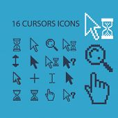 pixel cursors, inerface icons, signs, illustrations set, vector