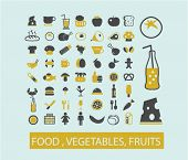 food, meat, fish, vegetable, fruits concept - flat isolated icons, signs, illustrations set, vector