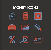 money, finance, bank concept - flat isolated icons, signs, illustrations set, vector