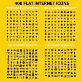 400 flat internet business, holidays, media, industry, family, health, office concept - flat isolated icons, signs, illustrations set, vector