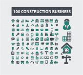 100 construction business, real estate, architecture concept - flat isolated icons, signs, illustrations set, vector