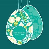 Vector emerald flowerals Easter egg shaped tags set template