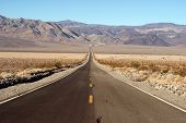 Long Desert Two Lane Highway Death Valley California