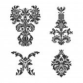 Set of ornamental vector damask elements. For your design invitations or announcements