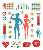 Medicine, health and healthcare. Infographic elements. Vector illustration.