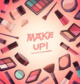 A lot of cosmetics for makeup. Vector illustration.