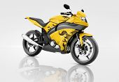 Motorcycle Motorbike Bike Riding Rider Contemporary Yellow Concept