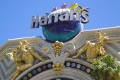 Sign in the front of the Harrah s Las Vegas Hotel and Casino