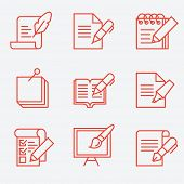Writing tools icons, thin line style, flat design