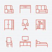 Furniture icons, thin line style, flat design