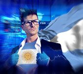 Businessman Superhero Country Argentina Flag Culture Power Concept