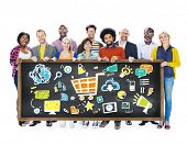 Diversity Casual People Online Marketing Support Branding Concept