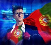 Businessman Superhero Country Portugal Flag Culture Power Concept