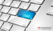 Cloud computing Concept 3D real look keybord to use for advertising and presentations, promotions or technology related brochures.