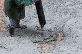 foto of street-rod  - Pouring cement during sidewalk upgrade at the street - JPG