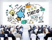 Start Up Business Launch Success Corporate Seminar Concept