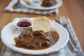pic of deer meat  - deer meat in wine sauce and home made dumplings - JPG