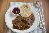 picture of deer meat  - deer meat in wine sauce and home made dumplings - JPG