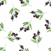 foto of olive branch  - Watercolor branches of olives seamless pattern - JPG