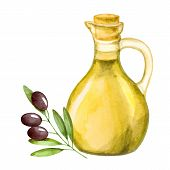 image of olive trees  - Olive oil in the bottle and a branch of olive watercolor - JPG